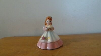Vintage Figural Girl Bell Holds Birthday Cake Made in Japan 1950s