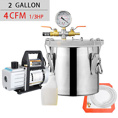 2 Gallon Vacuum Chamber and 4 CFM Single Stage Pump Degassing Silicone Kit