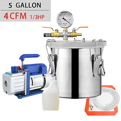 5 Gallon Vacuum Chamber and 4 CFM Single Stage Pump Degassing Silicone Kit