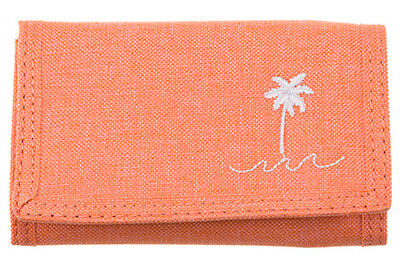 "Brand New + Tags Billabong Girls Tri-Fold Wallet Surf ""palm Springs"" Peach Bnwt"