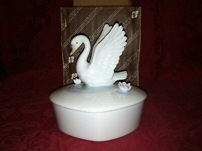 Vintage Otagiri Heart-Shaped Swan Trinket Box - New Old Stock in Box GREAT GIFT