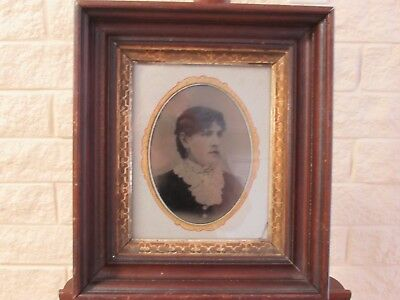 Antique East Lake Victorian Deep Well Gilt Lined Picture Frame w/Tinted Photo
