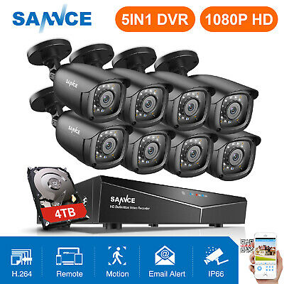 SANNCE 5in1 1080P HDMI 8CH /4CH DVR 720P Outdoor Security Camera System NO/1TB