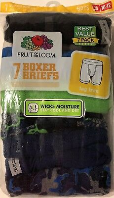 Fruit of the Loom Boys' 7-pack 100% Cotton Assorted Boxer Briefs Size M (10/12)