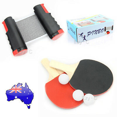 Portable Table Tennis Kit Ping Pong Racket Bat 3 Balls Retractable Net Rack Set