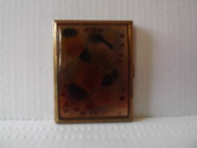 Brass  Cigarette Case WITH GLASS ART INLAY