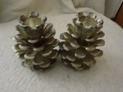 Pair of Vintage Metal Pine Cone Candle Holders/ Candlesticks Detailed & Heavy
