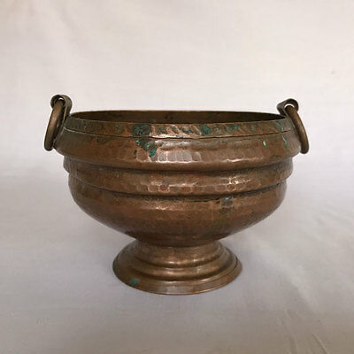 An old antique vintage copper urli shaped rice / flower bowl collectible small