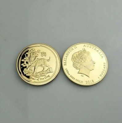 2018 YEAR OF THE DOG Australian Commemorative Coin Gold-plated Collection Coins