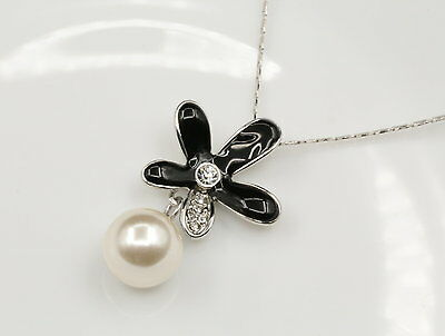 unique clear crystal black enamel flower white pearl pendant 18KWGP necklace N25