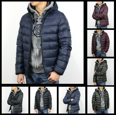 New Abercrombie A&F by Hollister Men Lightweight Hooded Puffer Jacket Coat Size