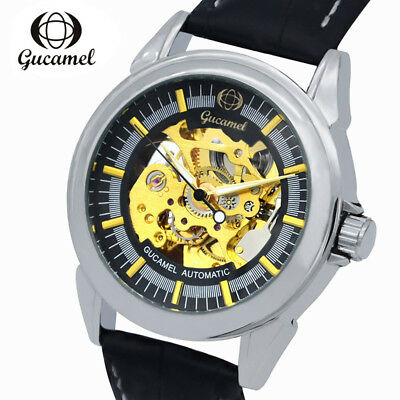 Fashion Business Mens Automotic Mechanical Skeleton Simple Leather Strap Watches