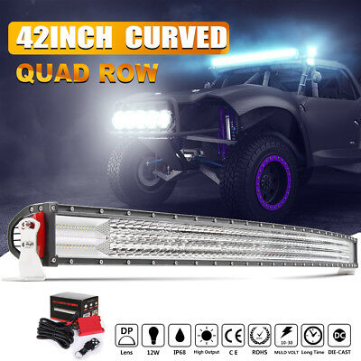 """4ROWS 42""""INCH 2880W CURVED LED LIGHT BAR SPOT FLOOD Fit For Dodge Ram 1500 2500"""