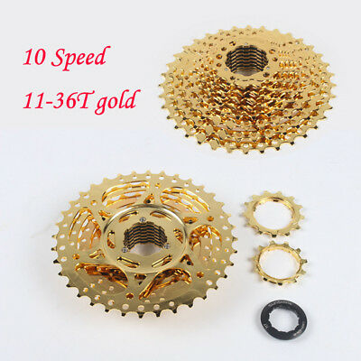 10 Speed 11-36T gold MTB Cassette Road Bicycle Mountain Bike Cassettes Freewheel