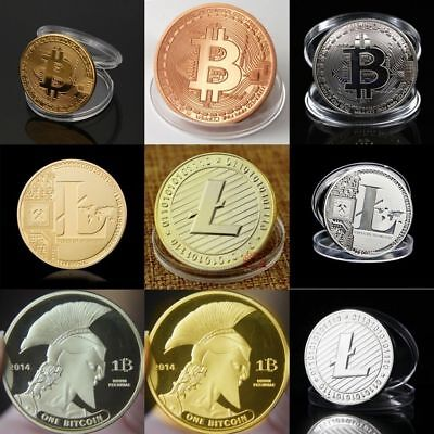 Bitcoin! Litecoin! Ethereum Coin! Gold Silver Plated Collectible Miner Art Gift