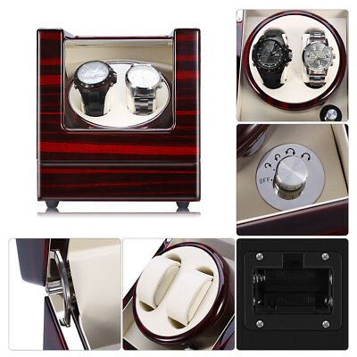 Watch Winder Storage Display Case Box Automatic Rotate Leather Wooden SE