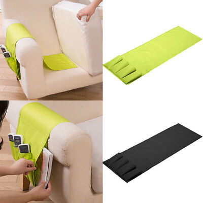 Sofa Arm Rest TV Remote Control Organizer Holder 4 Pockets Chair Couch Bag