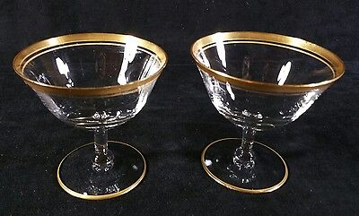 Pair of Antique Tiffin Optic Gold Rimmed Sherbet Glasses Ohio USA EXC to FINE