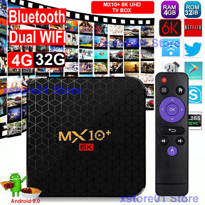 MX10 RK3328 4+32G Android 9.0 Quad Core 4K 3D Media Player WIFI Smart TV BOX DE