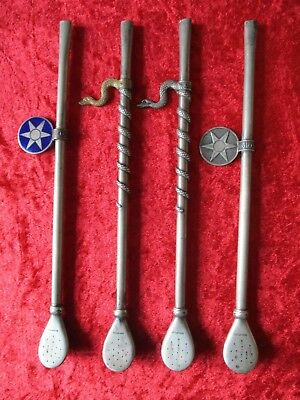 X4 Antique South Ameriacan Yerba Mate Straws Silver Coloured Different Designs