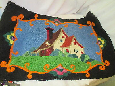 Vintage 1930's Latch Hook Rug cottage Home