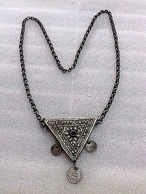 Antique Ottoman Folk Ornament Women Hajmali Decorated-Silver 800-Handmade-100 Y