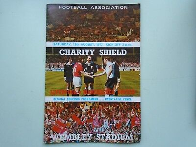 1977 Liverpool v Manchester United Programme. 13th August. CharityShield Wembley