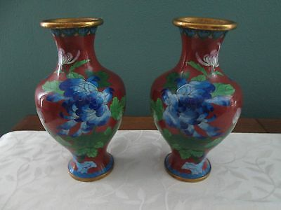 Beautiful Matching Pair Of Vintage 8 Inch Tall Cloisonne Vases