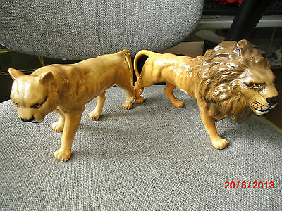 Pair of Vintage Beswick Lions Male Looking Right and Female Left