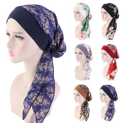 Women Turban Muslim Hijab Ruffle Cotton Cancer Chemo Caps Beanie Headwear Hat