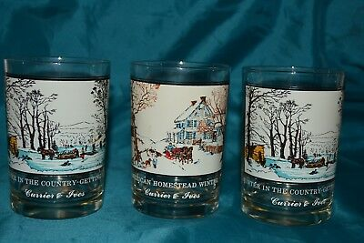 Arby's Currier & Ives Christmas Glass Tumblers American Homestead Winter 3