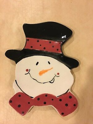 Snowman Spoon Rest - Hand Crafted Clay - NWOT