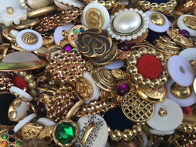100 pc MIXED LOT of Gold & Antique Gold  w/ Pearl-BUTTONS!!!