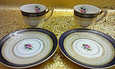 Set of 2 Blue Gold White Royal Bayreuth Bavaria Germany Teacup and Saucer