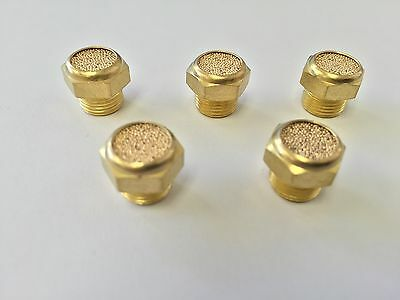 "1/8"" NPT (5) Threaded Muffler/Filter Sintered Silencer Vent Brass US Seller"