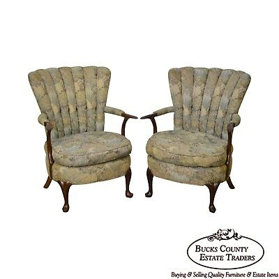1940s Jamestown Royal Upholstered Pair of Solid Mahogany Fan Back Arm Chairs