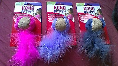New Kong Cat Kitten Soft Cork Ball Toy With Catnip & Feather To Encourage Play