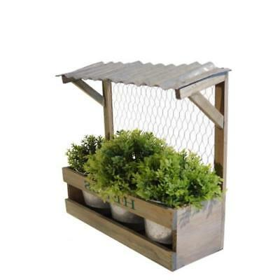 Rustic Wood Planter with 3 Metal Pots Galvanized Tin Roof Distressed Brown