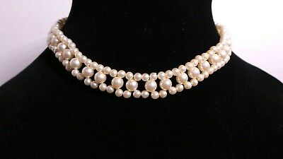 """Vintage Faux Pearls Woven Small off white Beads Choker Necklace 15.5"""" Nice"""
