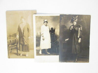 3 Vintage Photos Girl Coming Of Age 13 15 18 Years Post Card Real Fur 1920's
