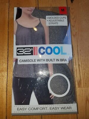 bf32fd421a NWT Women s Dk. Heather Grey 32 DEGREES Camisole With Built In Bra Size  Small S