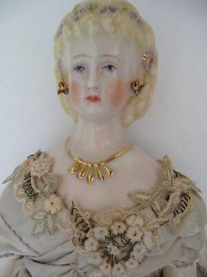 Fine Antique Shoulder China Head Doll 13in Boots Stud Earrings