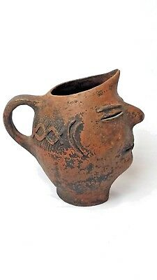 Ancient Roman Face Pot Terracotta Pitcher, c. 43 A.D. - 200 A.D. (Museum Worthy)