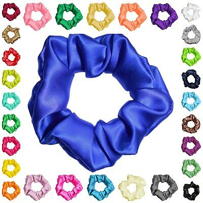 100% Silk Satin Hair Scrunchies Many Colors 3 Sizes Ponytail Holders Made in USA