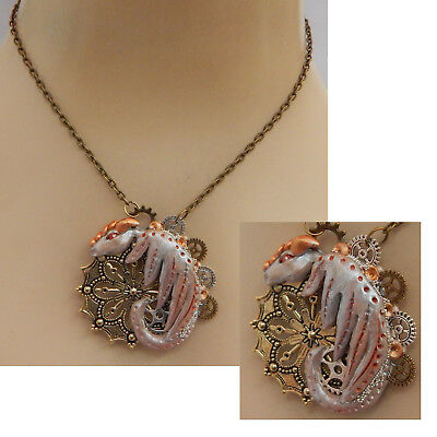 Steampunk Dragon Pendant Necklace Jewelry Handmade NEW Hand Sculpted NEW Clay