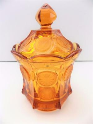 Vintage Fostoria Amber Coin Glass Candy Dish with Lid