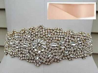 "Wedding Sash Belt - LIGHT GOLD CRYSTAL Wedding Belt = 12.5"" long = BLUSH"