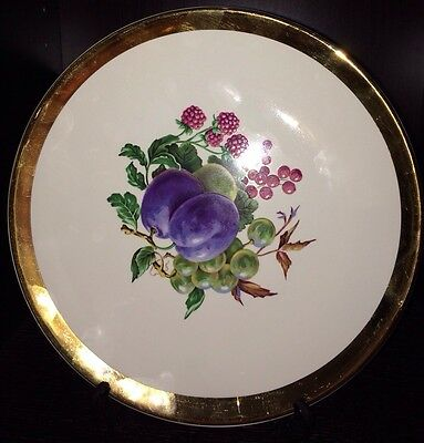 """Royal Winton Grimwades Fruit Center Plate Plums And Berries  10"""" Gold Trim"""