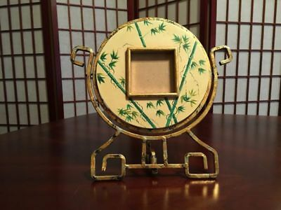 Hand Made Hand Painted Round Ornate Cast Iron Picture Frame w/ Bamboo Decor