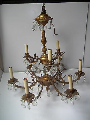 Vintage 9 Light Chandelier Crystal Brass/bronze Finish